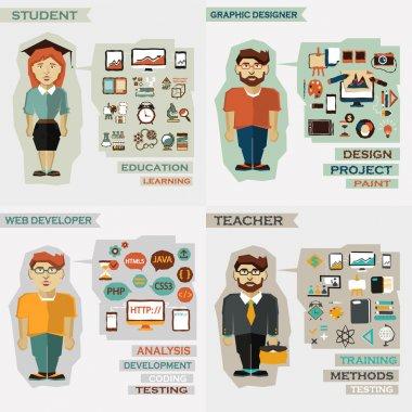 Set of professions. Student, graphic designer, web developer, teacher