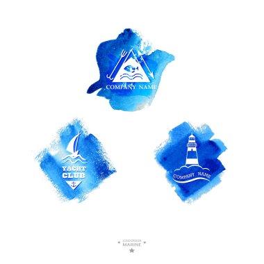 Set of yacht club logo. Watercolor
