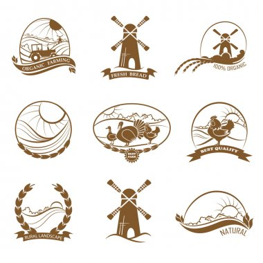 Set of rural landscape, farming, organic food and bread logos, e