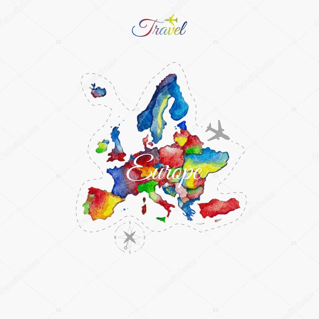 Travel around the  world. Europe. Watercolor map