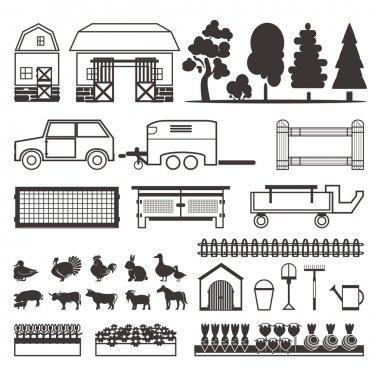 Set of elements for farm. Farm building, animals, plants, vegeta