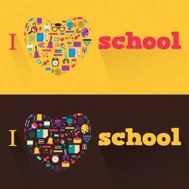 I love school. Banners with  a school subjects and tools.