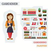 Fotografie Satz von Elementen für den Gartenbau mit Gärtner
