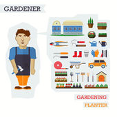 Fotografie Satz von Elementen für den Gartenbau mit Gärtner. Bauernhof Haus, p
