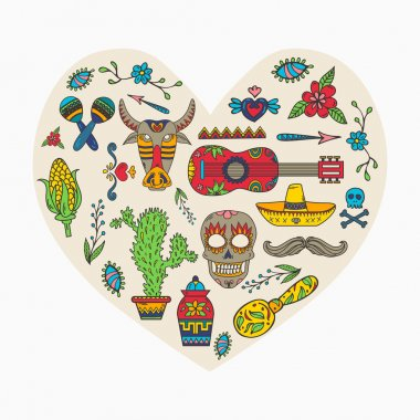 I love Mexico. Set of Mexican traditional and cultural elements