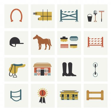 Set of horseback riding icons.