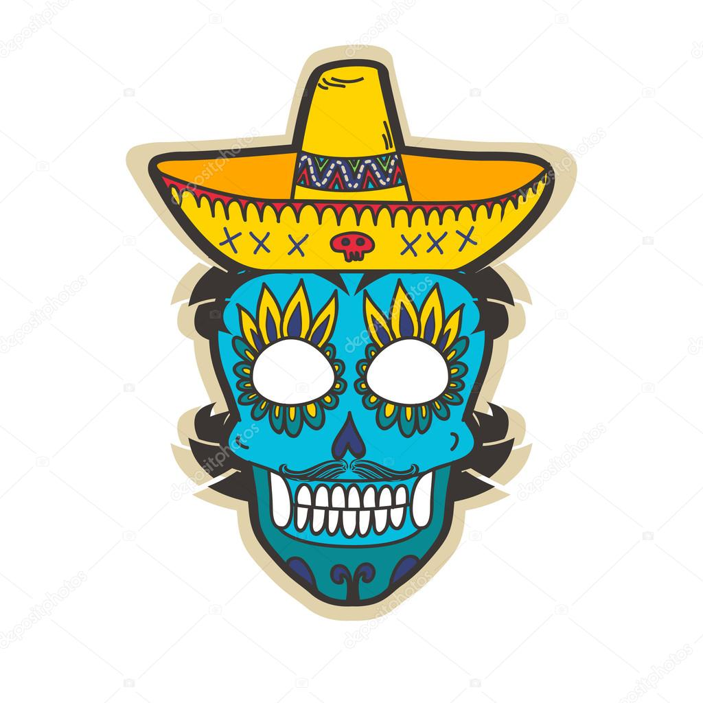 Day of dead skull with sombrero.