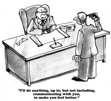 Business cartoon about poor communication skills
