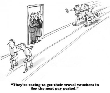 Business cartoon about expense accounts
