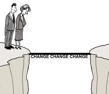 Business people looking at bridge of change