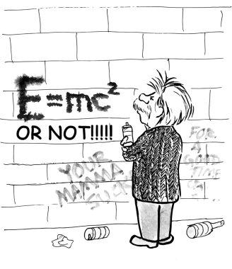 Einstein makes graffiti formula.