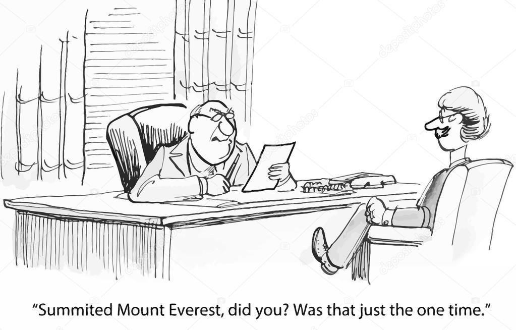 jefe no está impresionado por el everest reanudar — Vector de ...