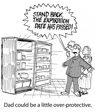 Cartoon of father protecting family, he is holding them back from the refrigerator, 'stand back, the expiration date has passed'.  Dad could be a little overprotective. stock vector