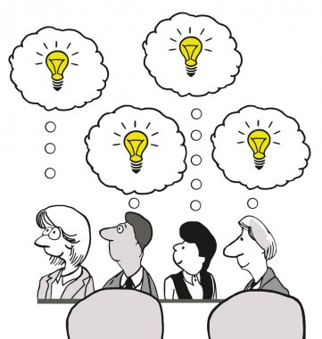 Cartoon of business meeting with lots of ideas