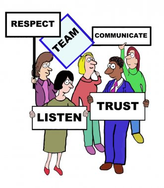 Cartoon of team characteristics and qualities