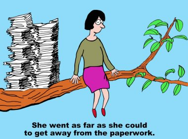 Cartoon of businesswoman with too much paperwork