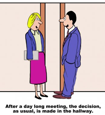 Cartoon of business people making another hallway decision