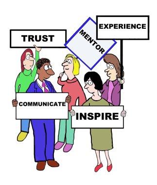 Cartoon of business mentor characteristics