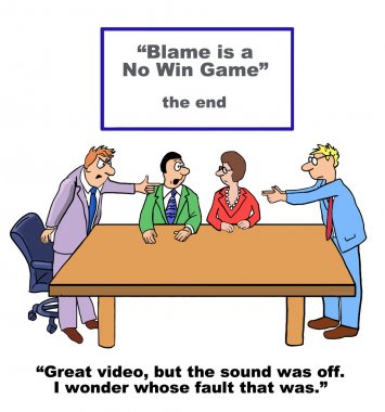 Cartoon of business people playing the blame game.