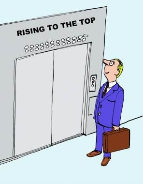 Cartoon of businessman climbing career ladder.