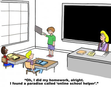 Cartoon of student Who has discovered the internet.