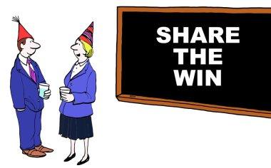Cartoon of business success, share the win