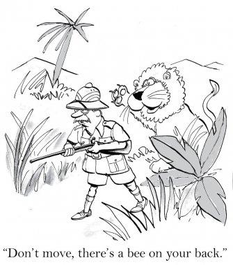 Lion will retract claws if hunter will drop gun