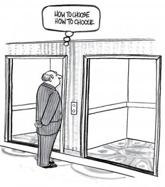 Man chooses a lift