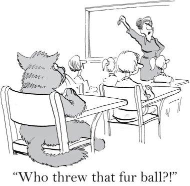 Cat threw a fur ball in class