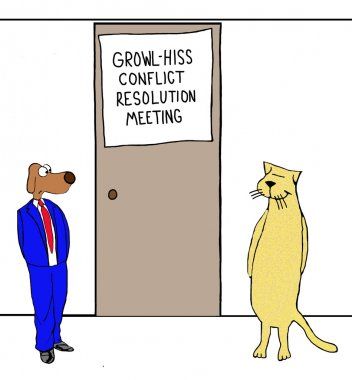 cartoon of business dog and cat