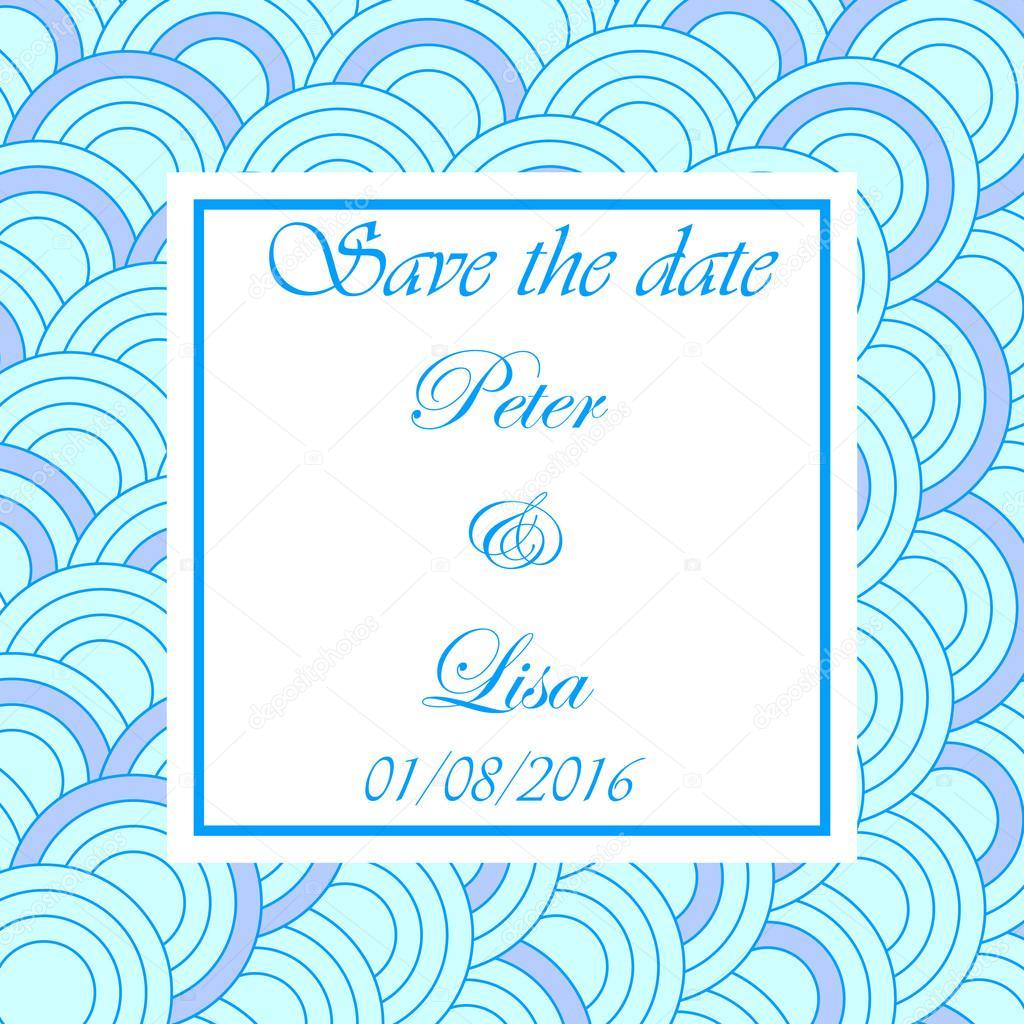 Hochzeit Einladung Kreis Blau Hintergrund U2014 Stockvektor
