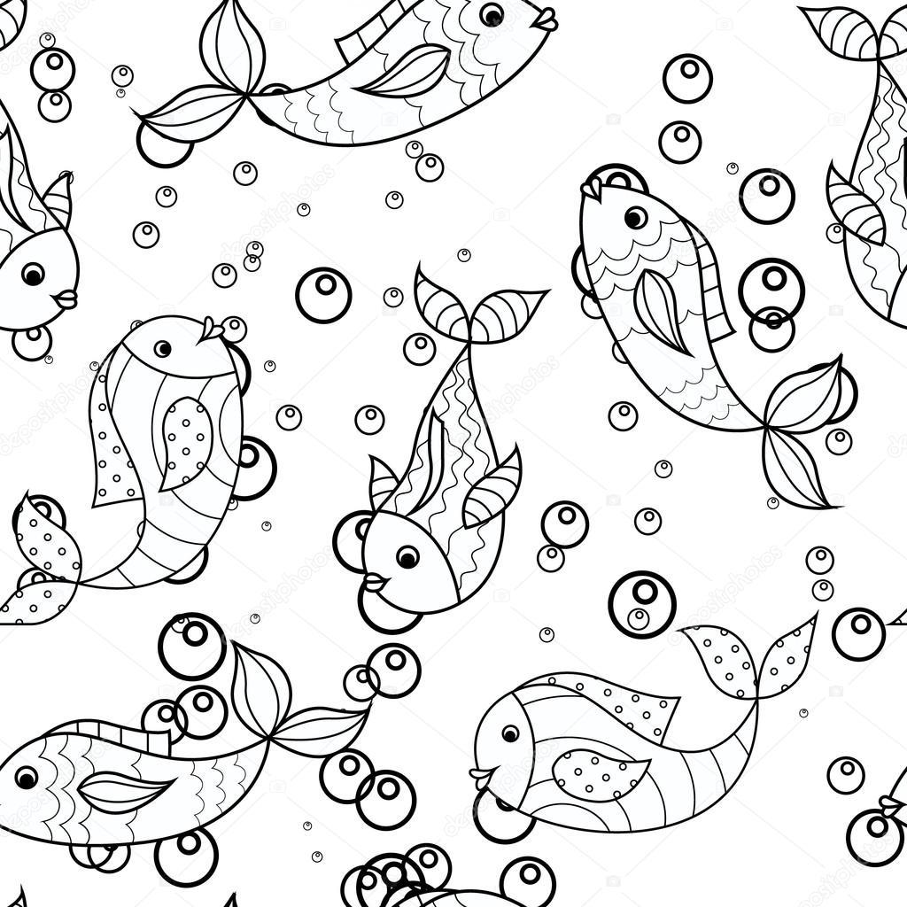Disegni da colorare antistress con pesce vettoriali for Disegni pesci da ritagliare