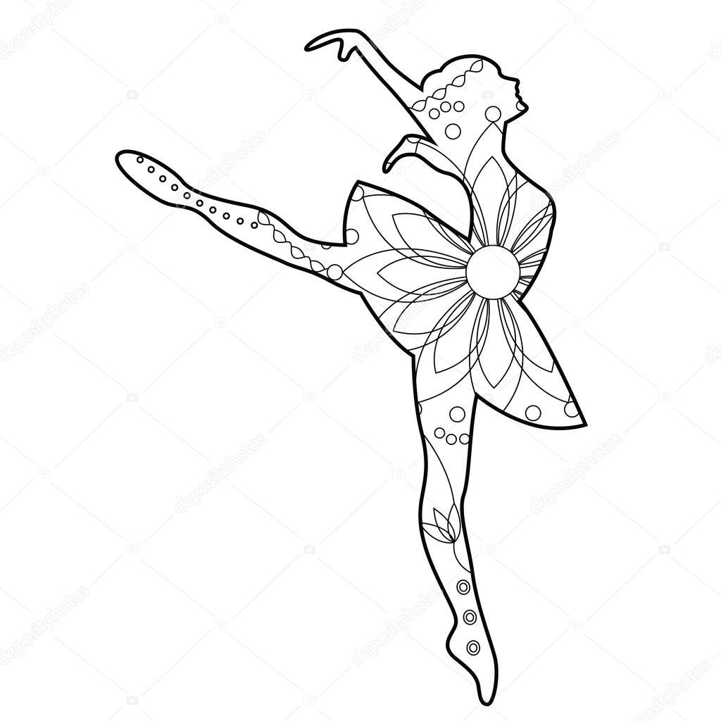 Bailarina de ballet para colorear — Archivo Imágenes Vectoriales ...