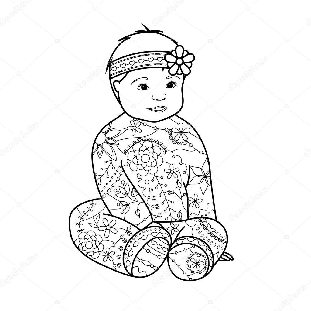 Bebé niña para colorear — Vector de stock © Marishayu #107585284