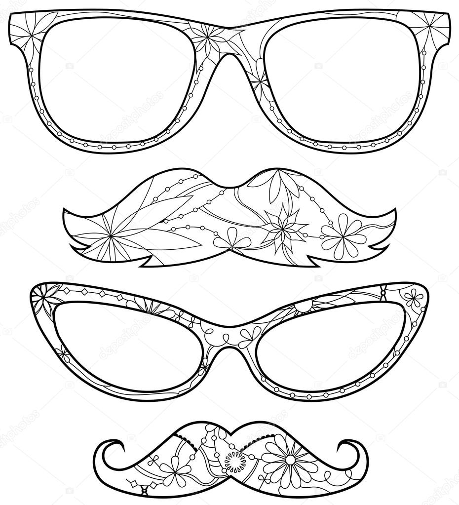 Glasses and moustache coloring — Stock Vector © Marishayu #108100364
