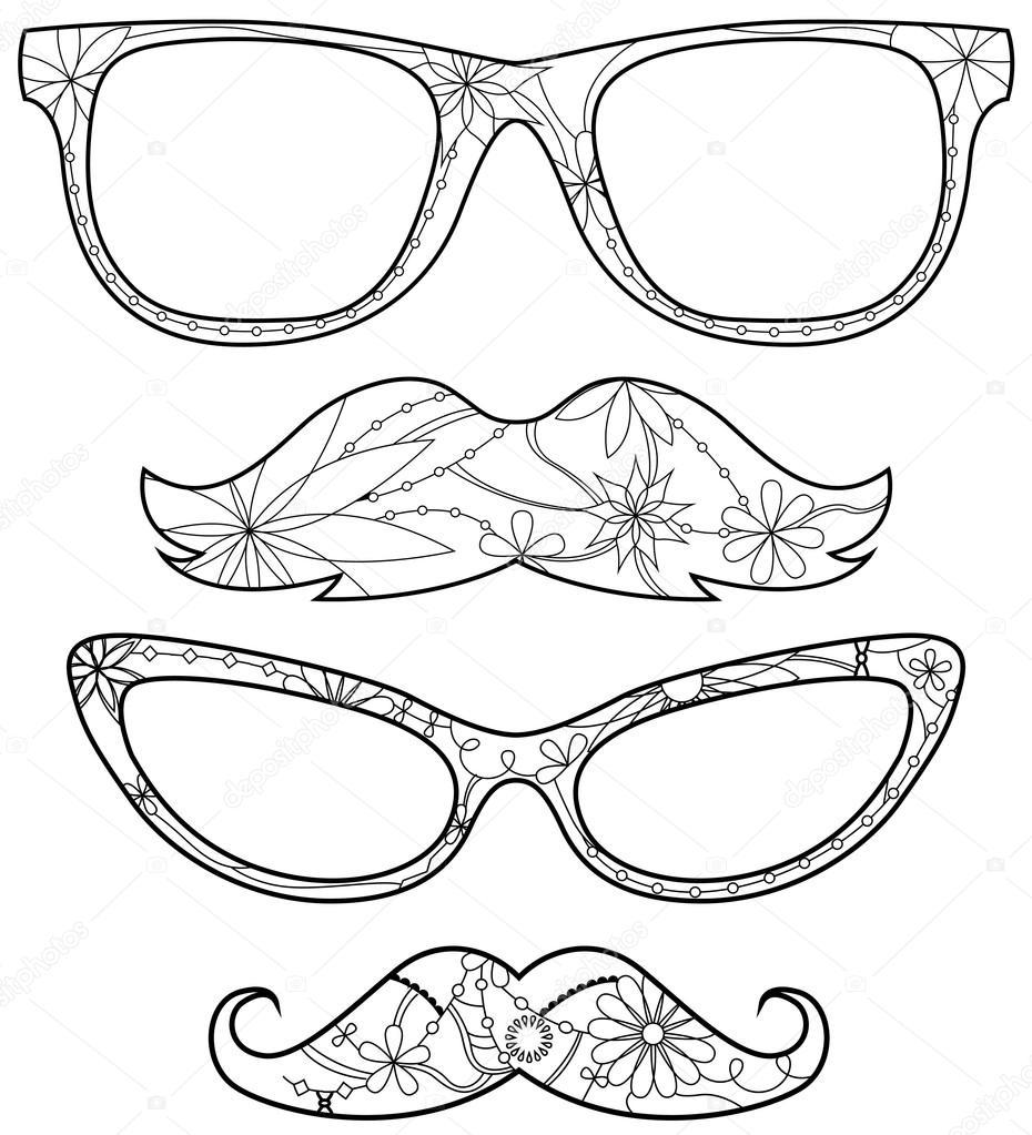Gözlük Ve Bıyık Boyama Stok Vektör Marishayu 108100364