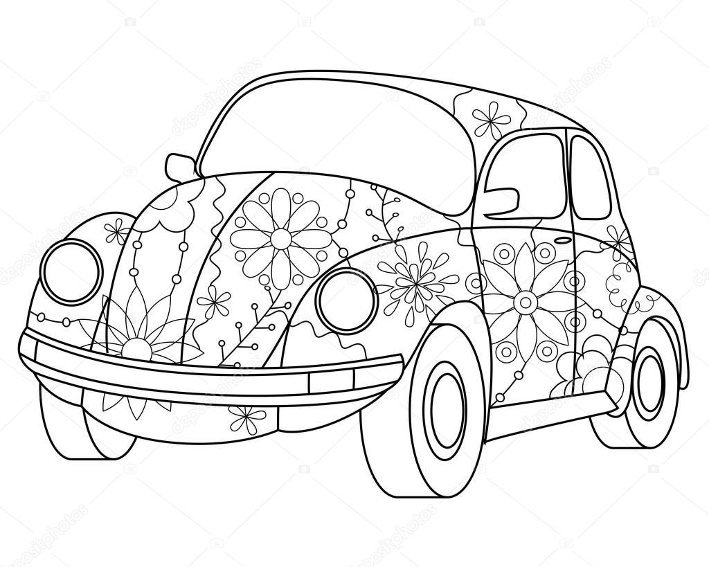 Coloriage voiture coccinelle image vectorielle marishayu - Dessin coccinelle voiture ...
