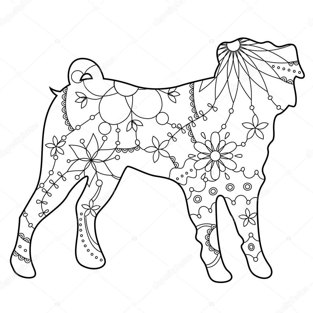 Perro Pug para colorear — Vector de stock © Marishayu #109241344