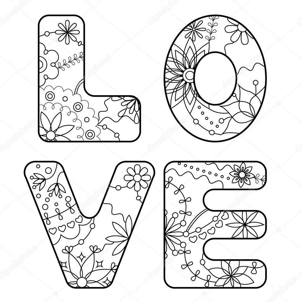 palabra amor pintado para colorear — Archivo Imágenes Vectoriales ...
