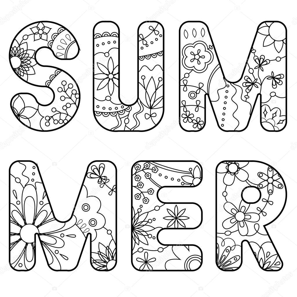 verano de palabra pintada para colorear — Vector de stock ...