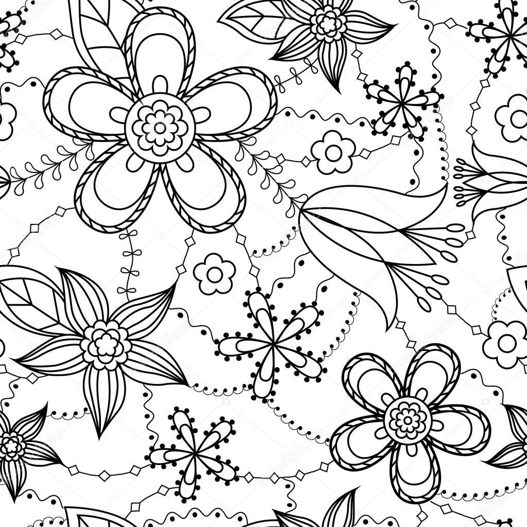 Patrón de flores para colorear — Vector de stock © Marishayu #113704054
