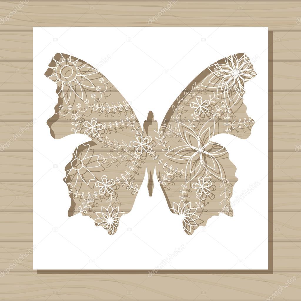 Schablone Vorlage Schmetterlings auf hölzernen Hintergrund ...