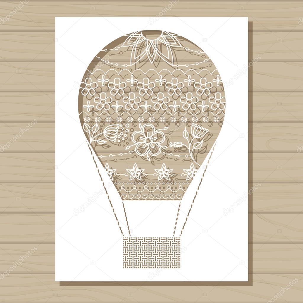 Schablone Vorlage Der Luftballon Auf Hölzernen Hintergrund