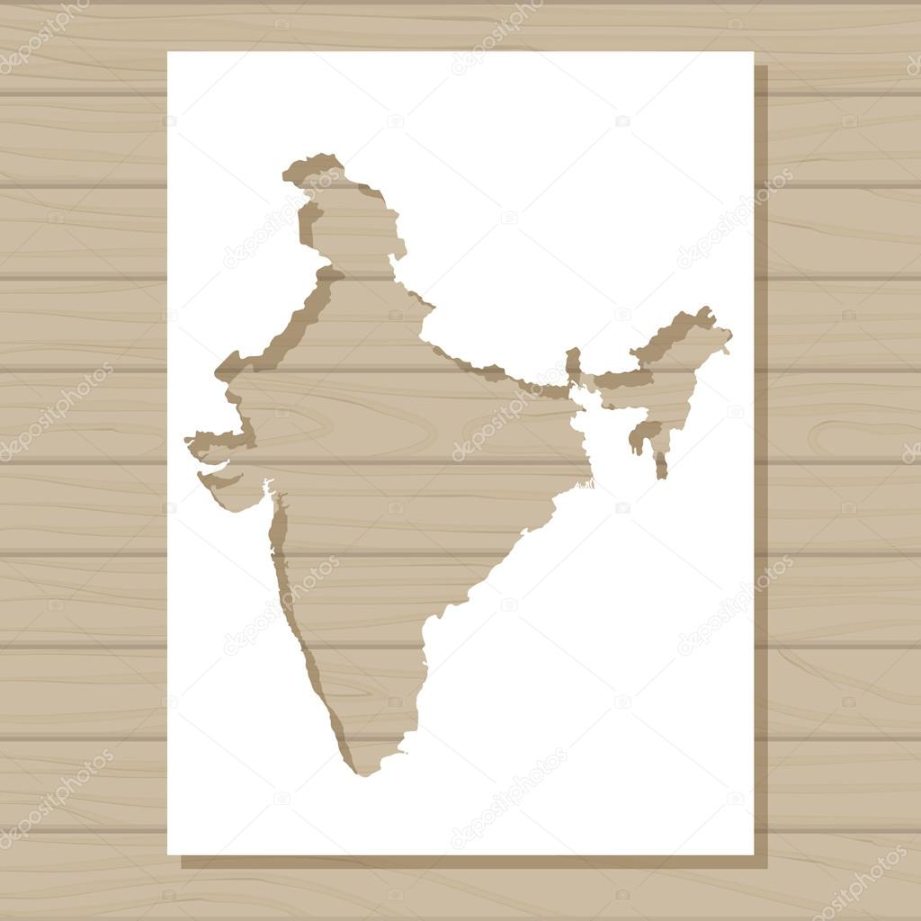 stencil template of India map on wooden background — Stock Vector ...