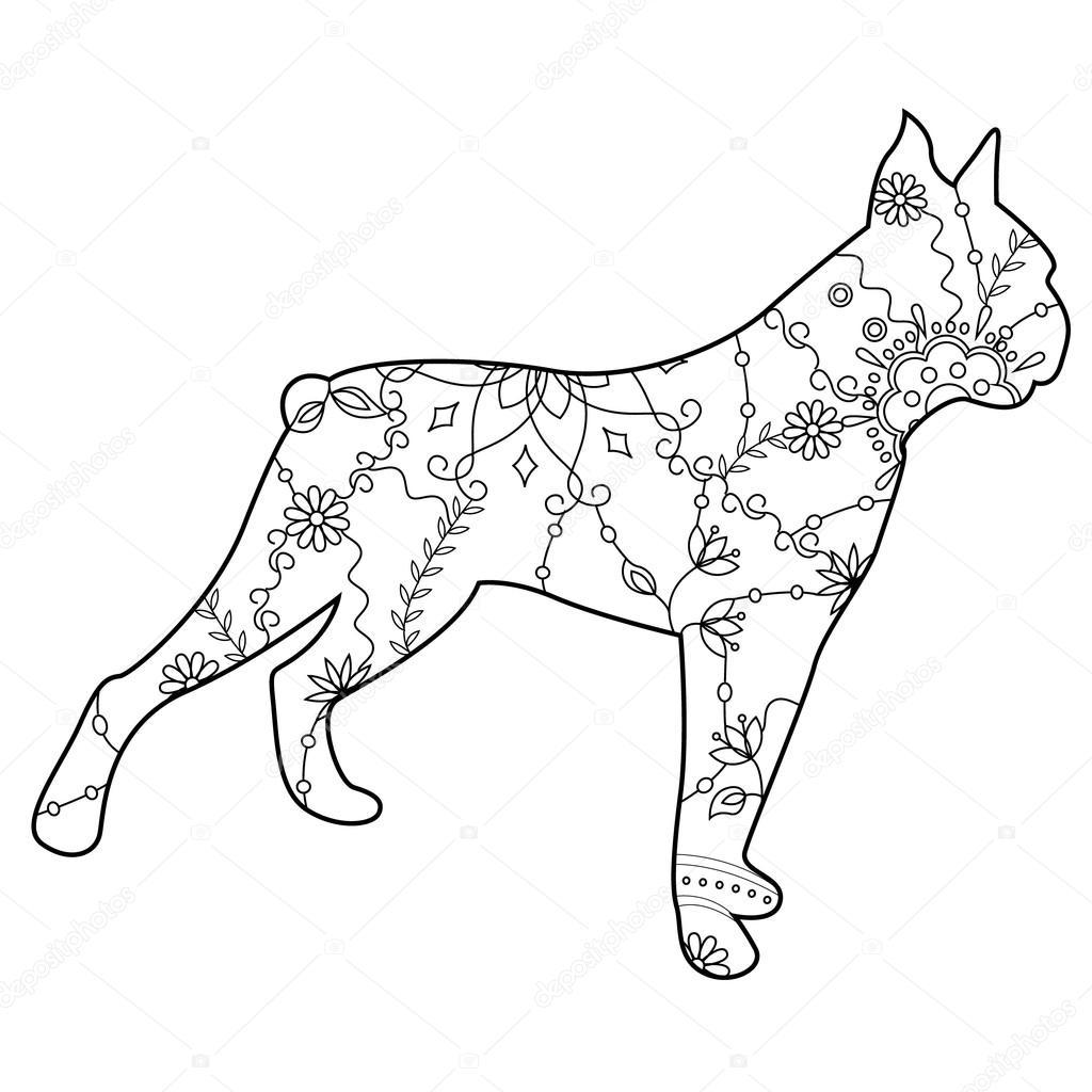 Perros Boxer Para Colorear Archivo Imágenes Vectoriales