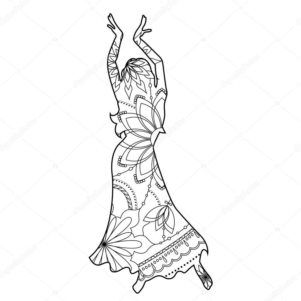 Bailarina oriental para colorear — Vector de stock © Marishayu ...