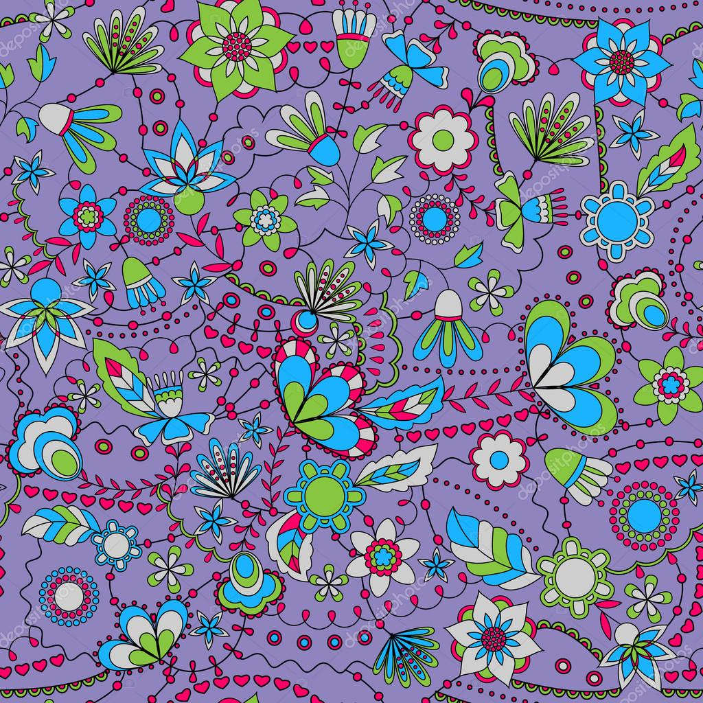Fantasie-Blumen-nahtlose Muster bunt — Stockvektor © Marishayu ...
