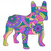 Photo French bulldog painted silhouette