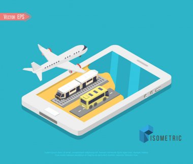 Travel and tourism background. Buying or booking online tickets. Travel, Business flights worldwide. Flat 3d isometric vector illustration. icon