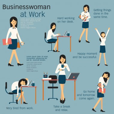 Character cartoon set of businesswoman or office person daily working in workplace, go to work, work on her desk, get tired, happy, take a break, busy, and go home. Simple design. stock vector